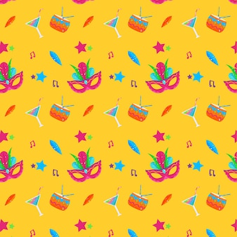 Masks and cocktails seamless carnival pattern