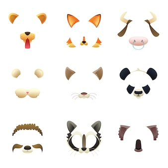 Masks of funny animals. ears and nose.