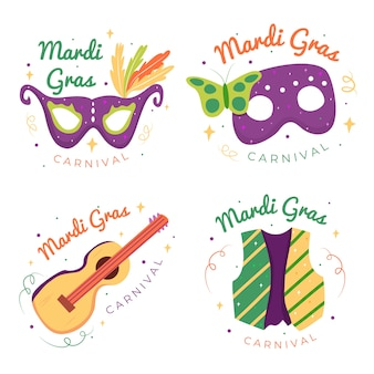 Masks and guitars mardi gras label collection