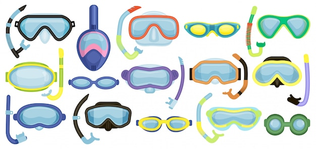 Masks for swimming   cartoon set icon. isolated cartoon set icon underwater glasses .