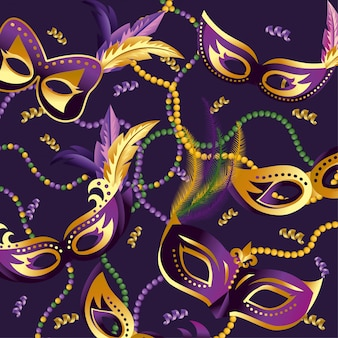 Masks with feathers and necklace to merdi gras