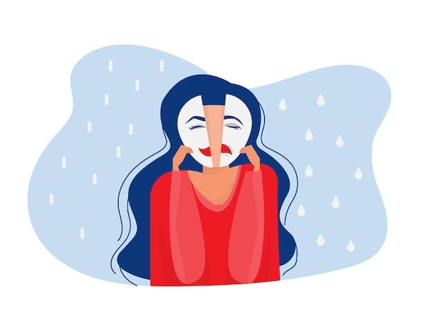 행복하거나 슬픈 표정을 가진 마스크 양극성 장애 가짜 얼굴과 감정