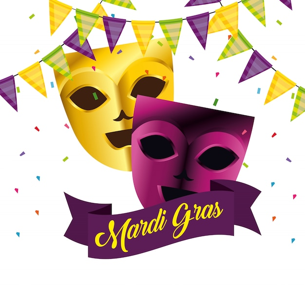 Masks with party decoration for mardi gras