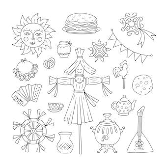 Масленица каракули набор. народный праздник масленицы