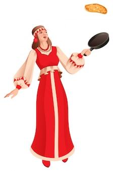 Русская молодая женщина масленица в традиционной национальной одежде печет блины. русский праздник масленица