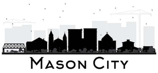 메이슨 시티 아이오와 스카이 라인 흑백 실루엣. 벡터 일러스트 레이 션. 관광 프레젠테이션, 배너, 현수막 또는 웹 사이트를 위한 단순한 평면 개념입니다. 비즈니스 여행 개념입니다. 랜드마크가 있는 도시 풍경.