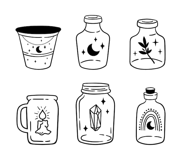 Mason jar clipart bundle celestial magic jar black and white glass bottles isolated items