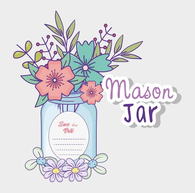 Mason jar flowers decoration save the date greeting label