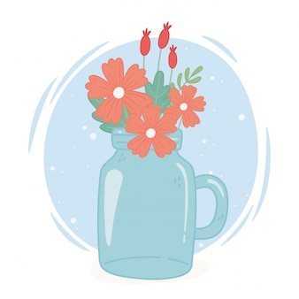 Mason jar flowers decoration with handle