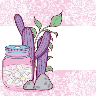 Mason jar flowers pot colorful card over purple background