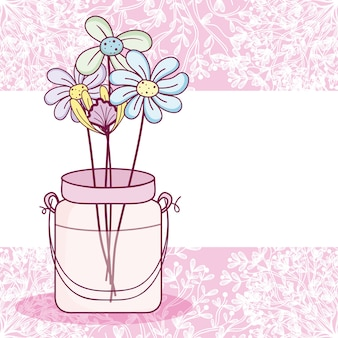 Mason jar flowers pot colorful card