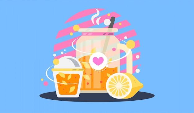 Mason jar glass of lemonade with lemon or jar glass of fruit tea.