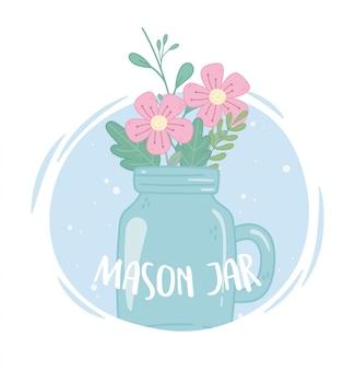Mason jar glass with flowers petal