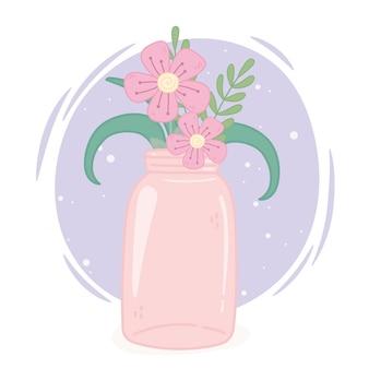 Mason jar pink flowers decoration