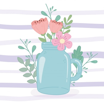 Mason jar with delicate flowers decoration stripes