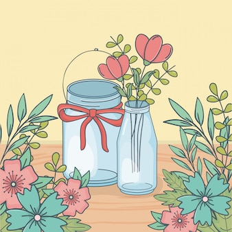 Mason jar with floral decoration in wooden floor