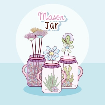 Mason jar with flowers cute cartoons concept
