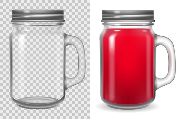 Mason jar with lid. transparent cup with handle isolated on white background. empty clear glass  illustration.