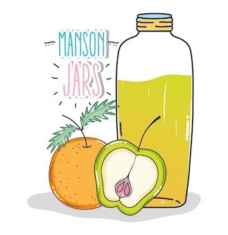 Mason jar with orange and apple fruit