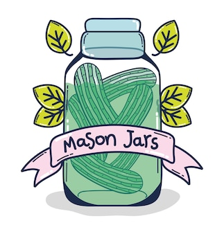 Mason jar with pickles conserve cartoon