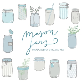 Mason jars hand drawn collection