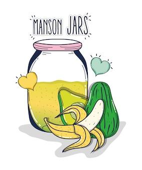 Mason jars juice with banana and avocado