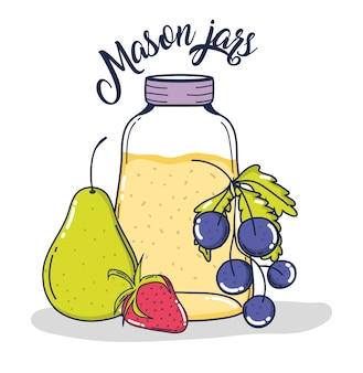 Mason jars juice with pear grapes and strawberry