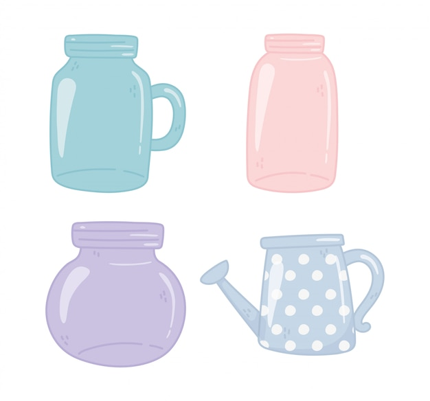 Mason jars, watering can, decoration ornament elements