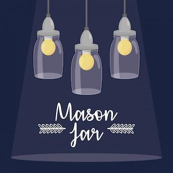 Mason jars with bulbs hanging