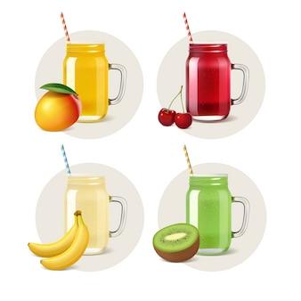 Mason jars with juice set
