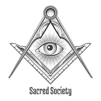 フリーメーソンの正方形とコンパスのシンボル。神秘的なオカルトの難解な、神聖な社会。