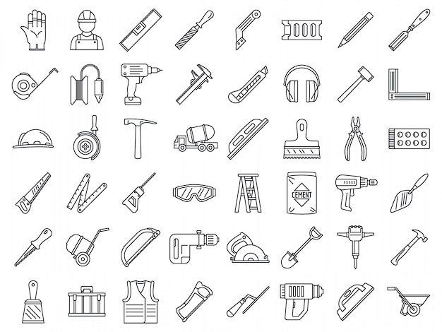 Masonry worker construction icon set