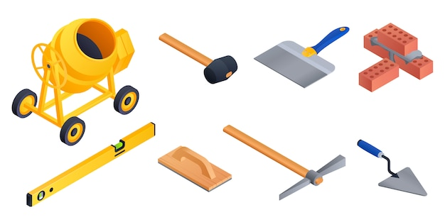 Masonry worker set. isometric set of masonry worker