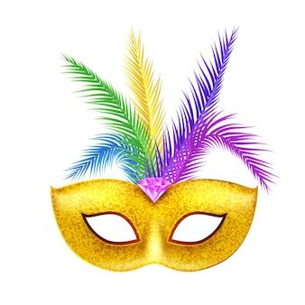 가장 무도회 카니발 마스크 장식. 축제 의상 디자인. 카니발 파티.