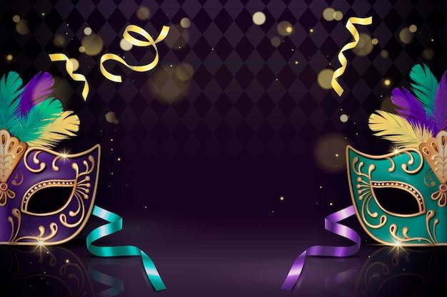 紫の3dスタイルの仮面舞踏会装飾マスク