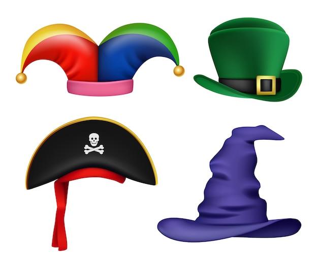 仮面舞踏会の帽子。パーティーのお祝いのベクトルの現実的なコレクションのための面白い色の衣装とマスクの服の要素。イラストカーニバル海賊と道化師の帽子、休日に面白い服