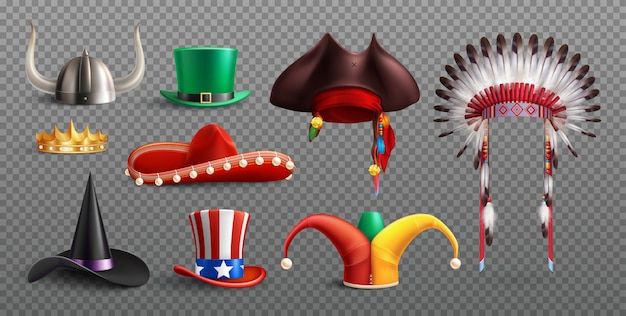 Masquerade hats set on transparent  with traditional national and holiday elements isolated