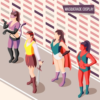 Masquerade isometric with women wearing creative costumes 3d illustration