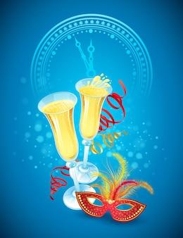 Maschera in maschera e champagne. buon anno. illustrazione vettoriale eps 10