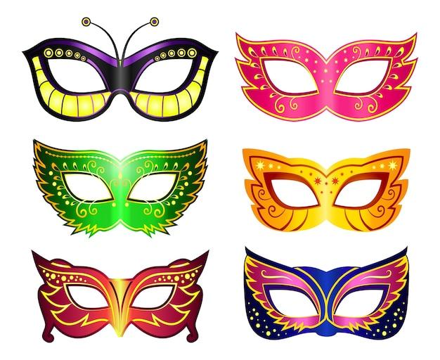 Set di maschere mascherate. maschera di carnevale, colorato ornato, accessorio e anonimo, illustrazione vettoriale