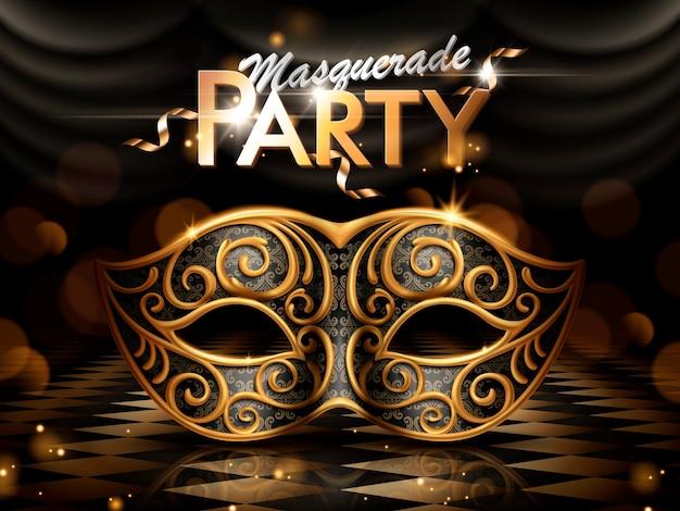 仮面舞踏会パーティーポスター、イラストの背景の暗いボケ味のゴールデンフレームと魅力的なアイマスク