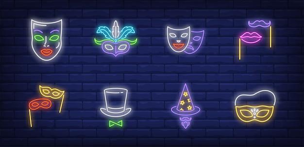 ネオンスタイルで設定された仮面舞踏会のシンボル