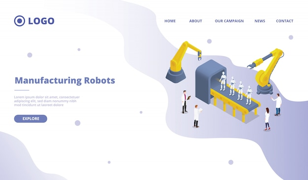 Mass and massive robot production development research for website template or landing homepage site