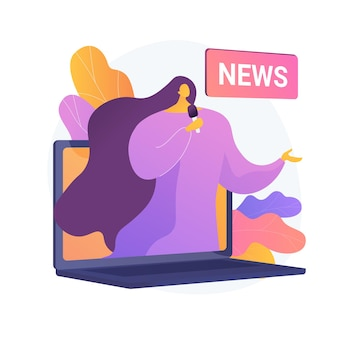 Mass media. reporter cartoon character. daily news, broadcasting, online press, internet journalism. social media concept. correspondent, journalist. vector isolated concept metaphor illustration