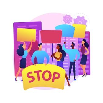 大衆抗議抽象的な概念図。デモ、暴力的な暴動、社会運動、政治的権利、人種的平等、法執行機関、政治活動家、民主主義。