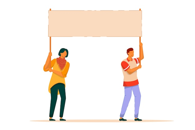 Mass protest action. dissatisfied man woman activist holding blank big placard together  on white background.  people at outdoor protest march. mass protest demonstration illustration