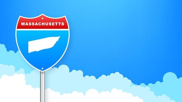 도 표지판에 매사추세츠 지도입니다. 매사추세츠 주에 오신 것을 환영합니다. 벡터 일러스트 레이 션.