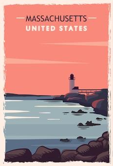 Massachusetts retro poster.