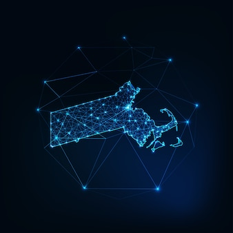 Massachusetts state usa map glowing silhouette outline made of stars lines dots triangles, low polygonal shapes.