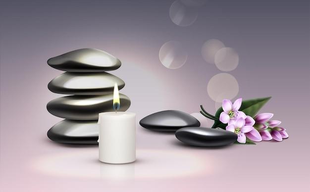 Состав массажных принадлежностей. свеча, камни, цветы.